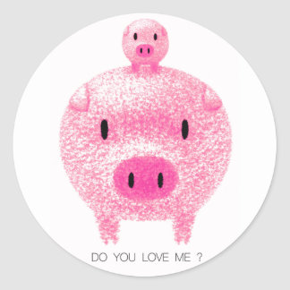Cerdos rosados pegatina redonda