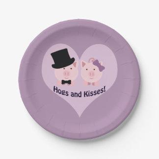 ¡Cerdos y besos! Plato De Papel De 7 Pulgadas