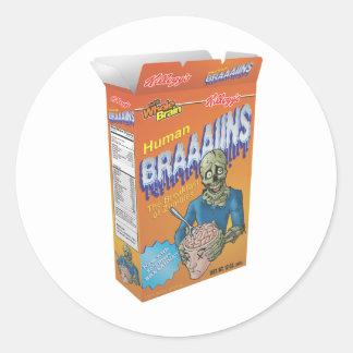 Cereal de desayuno del zombi pegatina redonda