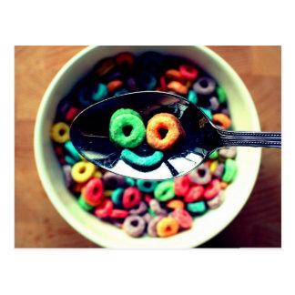 Cereal de desayuno sonriente tarjetas postales