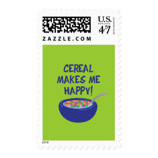 Cereal Makes Me Happy Postage Stamp