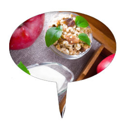 Cereal with walnuts and raisins, yogurt and apples cake topper
