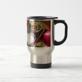 Cereal with walnuts and raisins, yogurt and apples travel mug