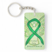 Cerebral Palsy Angel Awareness Ribbon Keychain