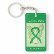 Cerebral Palsy Awareness Ribbon Angel Keychain