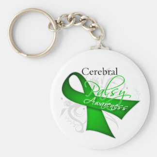 Cerebral Palsy Awareness Ribbon Basic Round Button Keychain