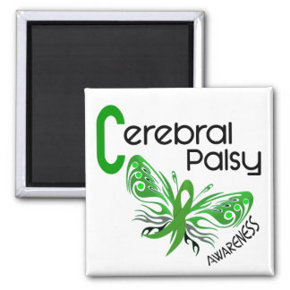 Cerebral Palsy BUTTERFLY 3 2 Inch Square Magnet