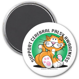 Cerebral Palsy Cat 3 Inch Round Magnet