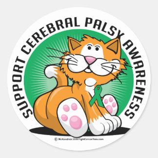Cerebral Palsy Cat Classic Round Sticker