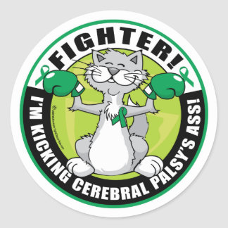 Cerebral Palsy Cat Fighter Classic Round Sticker
