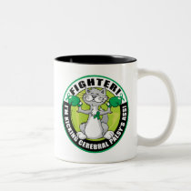 Cerebral Palsy Cat Fighter Two-Tone Coffee Mug