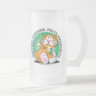 Cerebral Palsy Cat Frosted Glass Beer Mug
