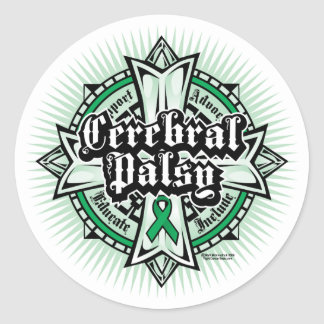 Cerebral Palsy Celtic Cross Classic Round Sticker