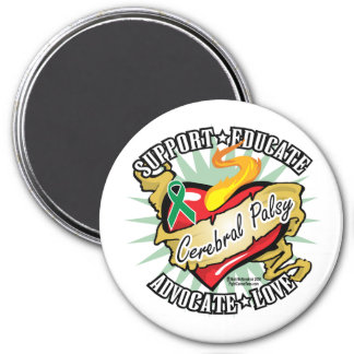 Cerebral Palsy Classic Heart 3 Inch Round Magnet