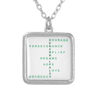 Cerebral Palsy crossword Silver Plated Necklace
