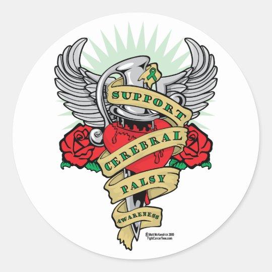 Cerebral Palsy Dagger Classic Round Sticker