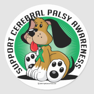 Cerebral Palsy Dog Classic Round Sticker