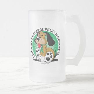 Cerebral Palsy Dog Frosted Glass Beer Mug