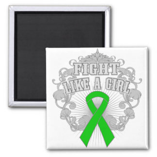 Cerebral Palsy Fight Like A Girl Fleurish 2 Inch Square Magnet