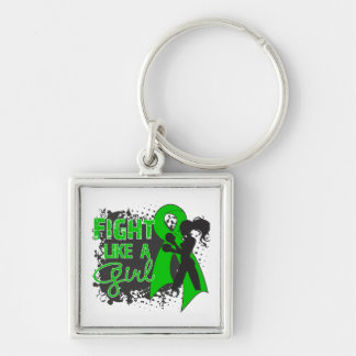 Cerebral Palsy Fight Like A Girl Grunge Silver-Colored Square Keychain