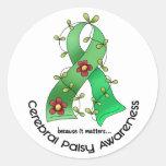Cerebral Palsy FLOWER RIBBON 1 Stickers