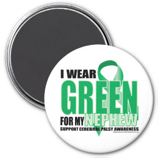 Cerebral Palsy Green for Nephew 3 Inch Round Magnet