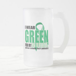 Cerebral Palsy Green for Niece Frosted Glass Beer Mug