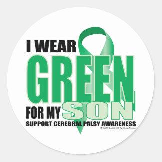 Cerebral Palsy Green for Son Classic Round Sticker
