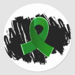 Cerebral Palsy Green Ribbon With Scribble Round Stickers
