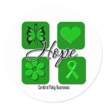Cerebral Palsy Hope Love Inspire Awareness Classic Round Sticker