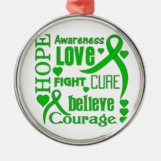 Cerebral Palsy Hope Words Collage Round Metal Christmas Ornament