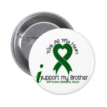 Cerebral Palsy I Support My Brother Pinback Button