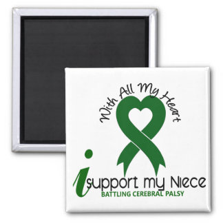 Cerebral Palsy I Support My Niece 2 Inch Square Magnet