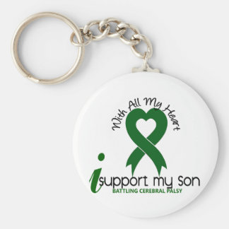 Cerebral Palsy I Support My Son Basic Round Button Keychain
