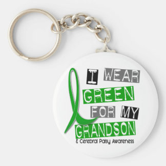 Cerebral Palsy I Wear Green For My Grandson 37 Basic Round Button Keychain
