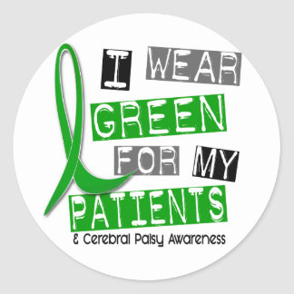 Cerebral Palsy I Wear Green For My Patients 37 Round Stickers