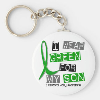 Cerebral Palsy I Wear Green For My Son 37 Basic Round Button Keychain