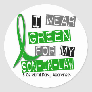 Cerebral Palsy I Wear Green For My Son-In-Law 37 Round Stickers