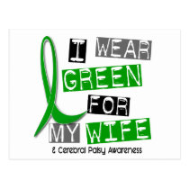 Cerebral Palsy I Wear Green For My Wife 37 Postcard