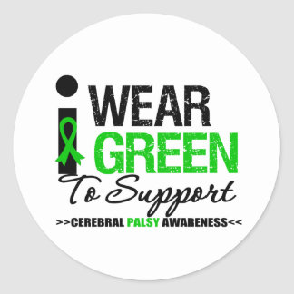 Cerebral Palsy I Wear Green Ribbon For Awareness Stickers