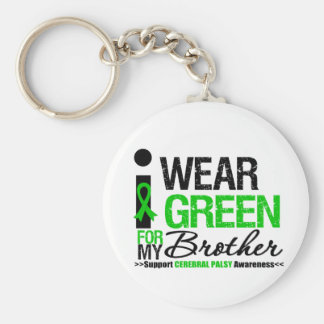 Cerebral Palsy I Wear Green Ribbon For My Brother Basic Round Button Keychain