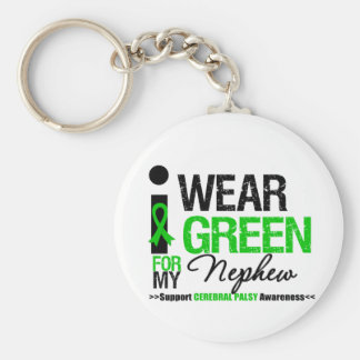 Cerebral Palsy I Wear Green Ribbon For My Nephew Basic Round Button Keychain