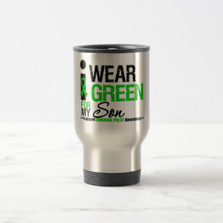 Cerebral Palsy I Wear Green Ribbon For My Son 15 Oz Stainless Steel Travel Mug