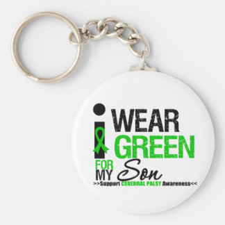 Cerebral Palsy I Wear Green Ribbon For My Son Basic Round Button Keychain