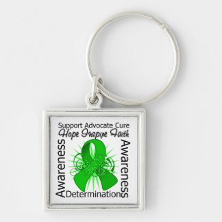 Cerebral Palsy Inspirations Spiral Ribbon Silver-Colored Square Keychain