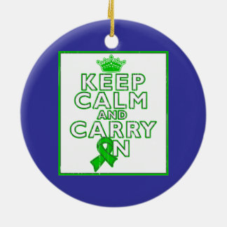 Cerebral Palsy Keep Calm and Carry ON Double-Sided Ceramic Round Christmas Ornament