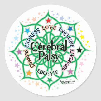 Cerebral Palsy Lotus Classic Round Sticker