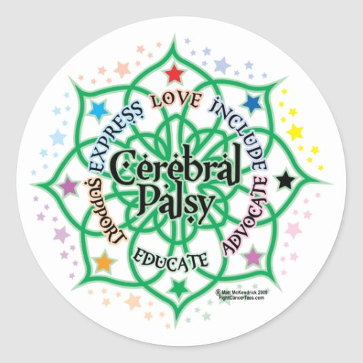 Cerebral Palsy Lotus Classic Round Sticker