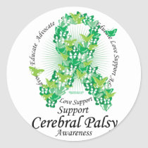 Cerebral Palsy Ribbon of Butterflies Classic Round Sticker