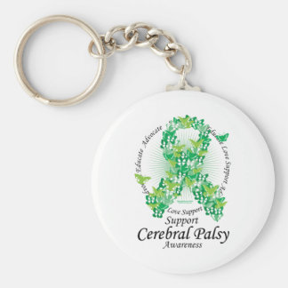 Cerebral Palsy Ribbon of Butterflies Keychain